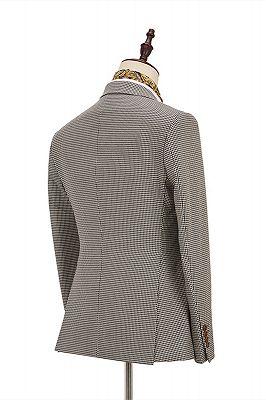 Light Khaki Notch Lapel 3 Piece Men's Suit with Dark Coffee Waistcoat_2