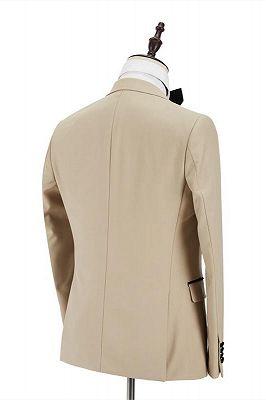 Black Peak Lapel Champagne Wedding Suit | Velvet Banding Edge Formal Suit for Men_2