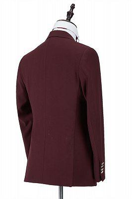 Harrison Burgundy Peaked Lapel One Button Men Suits_3