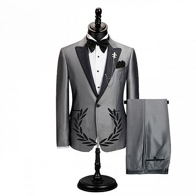 Shawn Gray Stylish Peaked Lapel Slim Fit Business Men Suits_2