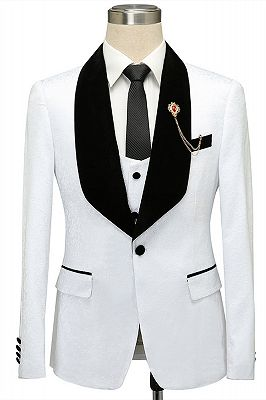Fernando White Jacquard One Button Wedding Men Suits with Black Lapel_1
