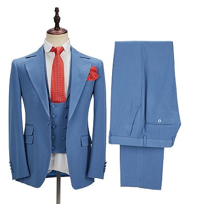 Raymond Blue Slim Fit Notched Lapel Men Suits Online_4