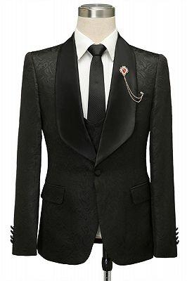 Bradley Stylish Black Jacquard Shawl Lapel Wedding Suits_1