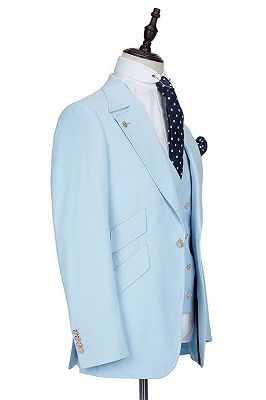 Andre Sky Blue Stylish Peaked Lapel Best Fit Men Suit for Prom_2