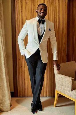 Sergio Fashion Slim Fit White Wedding Suit for Groom_1