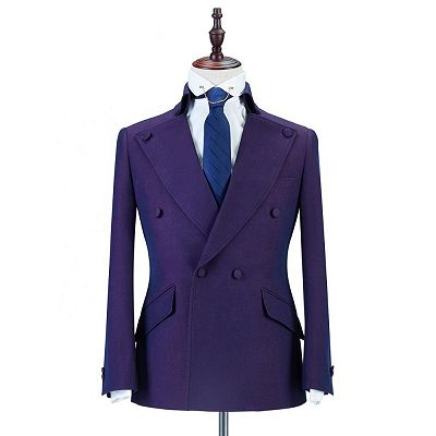 Marco Purple Peaked Lapel Double Breasted Fashion Men Suits Online_3