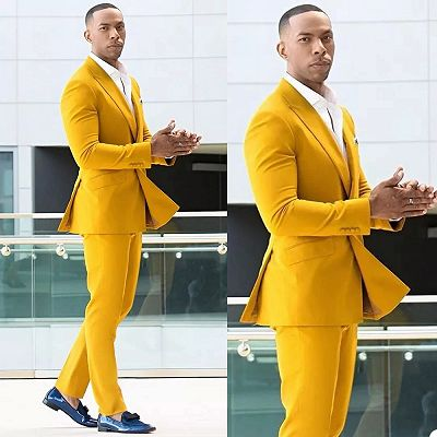 Trenton Yellow Double Breasted Peaked Lapel Prom Men Suits Online_2