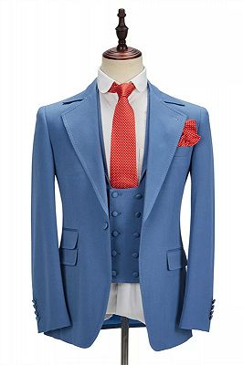 Raymond Blue Slim Fit Notched Lapel Men Suits Online_1