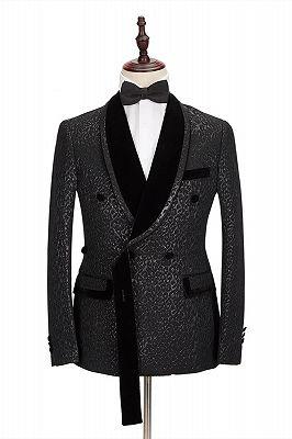 Stylish Velvet Lapel Double Breasted Prom Suit | Belt Leopard Black Jacquard Men's Suit for Wedding_3