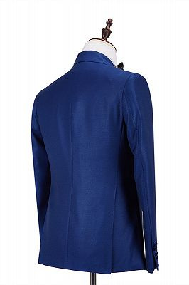 Martin Royal Blue Double Breasted Two-Piece Business men Suits_3