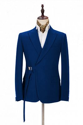 Latest Royal Blue Men's Casual Suit Online | Peak Lapel Buckle Button Groomsmen Suit for Formal_1