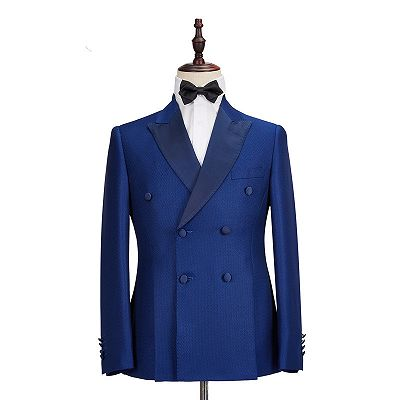 Martin Royal Blue Double Breasted Two-Piece Business men Suits_5