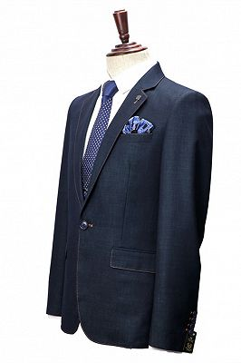 Spencer Dark Navy Fashion Notched Lapel Men Suits with One Button_3