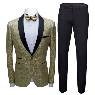Keegan Gold Jacquard Slim Fit Prom Men Suits with Black Shawl Lapel_3