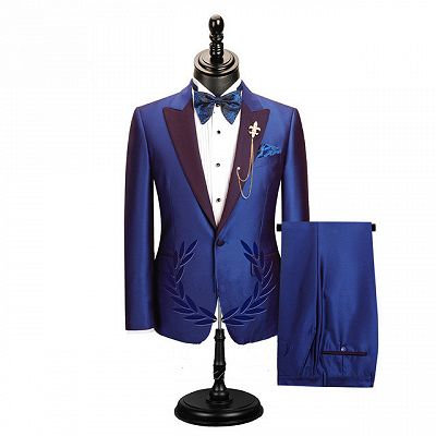 Wesley Blue Peaked Lapel Cheap Men Suits for Prom_2