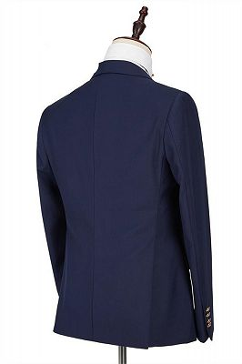 Maddox Navy Blue Peaked Lapel Formal Business Men Suits Online_2