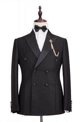 Classic Satin Peak Lapel Double Breasted Black Men's Wedding Suit Groom Tuxedos_1