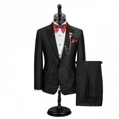Edgar Fashion Black Peaked Lapel Best Fitted Men Suit for Prom_2