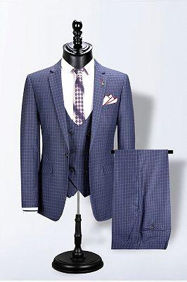 Mario Blue Notched Lapel Plaid Fashion Slim Fit Men Suits_1