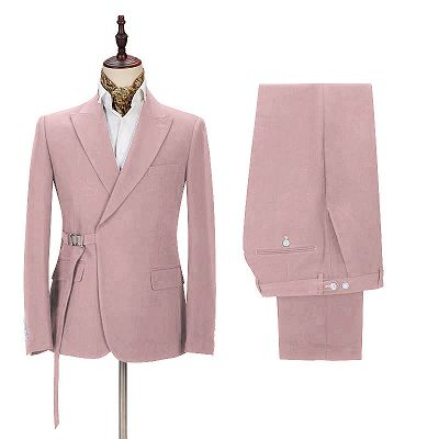 Chic Pink Men's Casual Suit for Prom   Buckle Button Formal Groomsmen Suit for Wedding_2