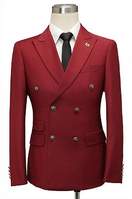 Asher Red Double Breasted Peaked Lapel Slim Fit Men Suits_1