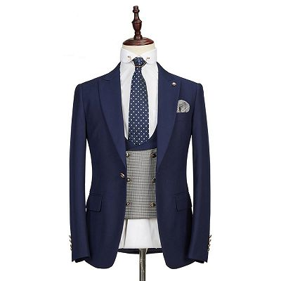 Maddox Navy Blue Peaked Lapel Formal Business Men Suits Online_3