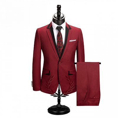 Jace Stylish Red Slim Fit Notched Lapel One Button Men Suits Online_2