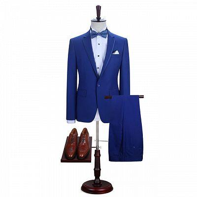 Abraham Royal Blue One Button Notched Lapel Men Suits for Prom_2