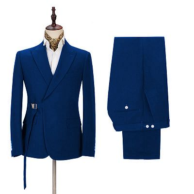 Latest Royal Blue Men's Casual Suit Online | Peak Lapel Buckle Button Groomsmen Suit for Formal_2