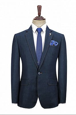 Spencer Dark Navy Fashion Notched Lapel Men Suits with One Button_2