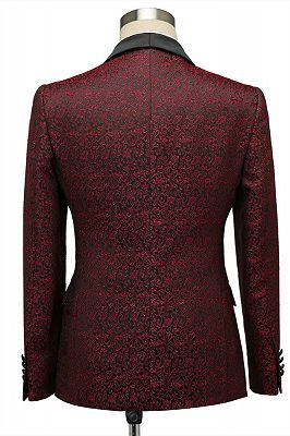 Cesar Burgundy One Button Shawl Lapel Jacquard Wedding Groom Suits_2