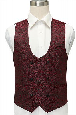 Cesar Burgundy One Button Shawl Lapel Jacquard Wedding Groom Suits_4