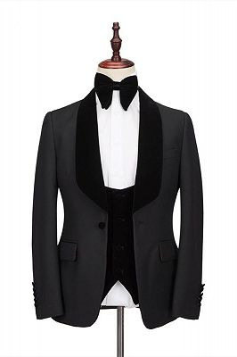 Claassic Stitching Velvet Shawl Lapel Black One Button Men's Formal Wedding Suit Tuxedos Online_1