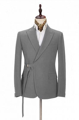 Elegant Dark Gray Men's Formal Suit | Buckle Button Suit for Groomsmen_1