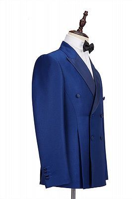 Martin Royal Blue Double Breasted Two-Piece Business men Suits_2