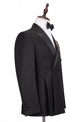 Classic Satin Peak Lapel Double Breasted Black Men's Wedding Suit Groom Tuxedos_3