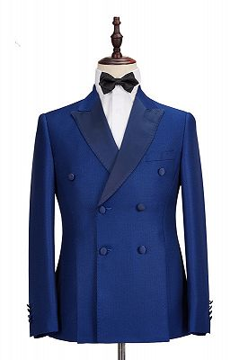 Martin Royal Blue Double Breasted Two-Piece Business men Suits_1