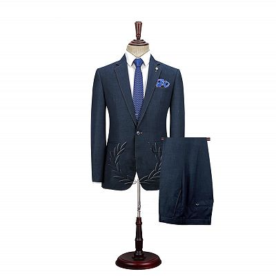 Spencer Dark Navy Fashion Notched Lapel Men Suits with One Button_5