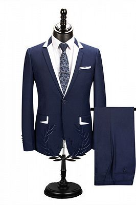 Bryson Dark Navy One Button Men Suits for Business_1