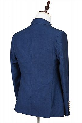 Avery Dark Blue Peaked Lapel Double Breasted Formal Men Suits_2