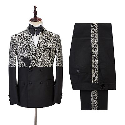 Ryder Cool Leopard Print Black Double Breasted Men Suits_2