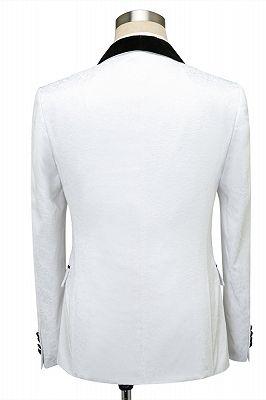 Fernando White Jacquard One Button Wedding Men Suits with Black Lapel_2