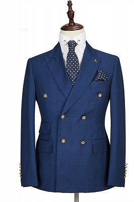 Avery Dark Blue Peaked Lapel Double Breasted Formal Men Suits_1