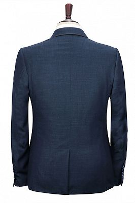 Spencer Dark Navy Fashion Notched Lapel Men Suits with One Button_4
