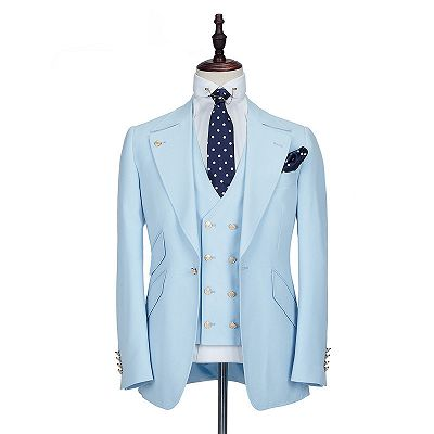 Andre Sky Blue Stylish Peaked Lapel Best Fit Men Suit for Prom_5