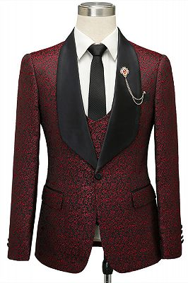 Cesar Burgundy One Button Shawl Lapel Jacquard Wedding Groom Suits_1
