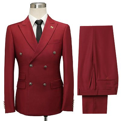 Asher Red Double Breasted Peaked Lapel Slim Fit Men Suits_2