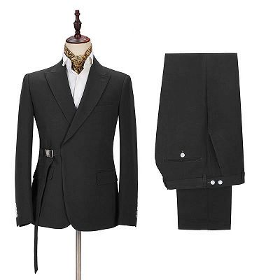 Classic Men's Formal Suit Online | Peak Lapel Buckle Button Suit for Men_2