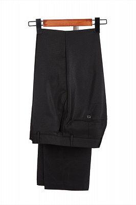 Classic Satin Peak Lapel Double Breasted Black Men's Wedding Suit Groom Tuxedos_4