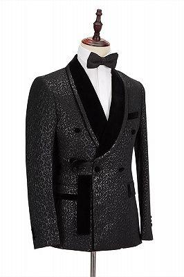 Stylish Velvet Lapel Double Breasted Prom Suit | Belt Leopard Black Jacquard Men's Suit for Wedding_4